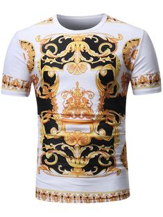 Men s Baroque Angel Print Short Sleeve T-Shirt Top Slim Fit Casual Tops M 690cd3d489f