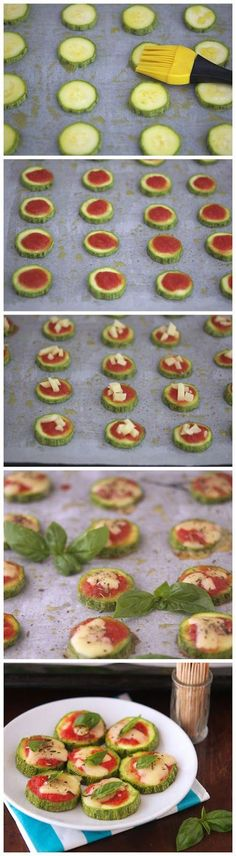 Zucchini Pizza Bites Recipe Ingredients Serves 4 (about 60 bites) 2 large zucchini, sliced into ¼-inch thick rounds ⅓ cup tomato sauce ⅓ cup shredded mozzarella 2 tablespoons olive oil Fine grain s… Baby Food Recipes, Cooking Recipes, Zucchini Pizza Bites, Healthy Snacks, Healthy Recipes, Healthy Pizza, Healthy Eating, Mini Pizzas, Cocina Natural