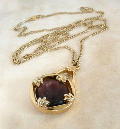 vintage avon gold necklace with purple stone pendant