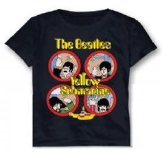 Beatles Hand Waves Navy Blue Youth Tee (Large 14-16)