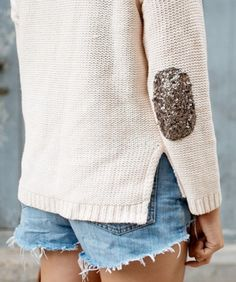 DIY Fashion: Sequined elbow patches
