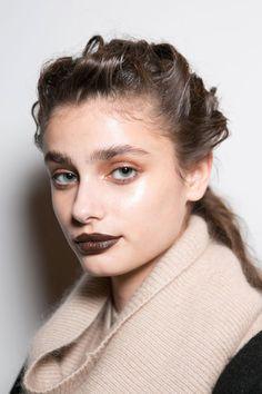 Brown lipstick on model Taylor Marie Hill @ Trussardi FW15