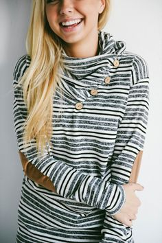 These cute sweaters look great with leggings or skinny jeans! The cozy fit, button detail & cowl neck design will make this a go to all season long!