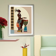 African American wall Art Black Girl Painting Decor   Etsy Painting Of Girl, Gallery Wall, African, Etsy, Wall Art, Black, Home Decor, Carnival, Museums