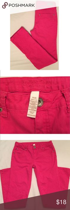 Pink Justice colored jeans Justice brand, bright pink denim, simply low, straight leg jeans. Size 16 regular length. 98% cotton, 2% spandex, EUC. Justice Bottoms Jeans