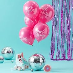 "These fun Ginger Ray Girl Gang Balloons will make sure your friends feel part of your good vibe tribe at your celebrations! The hot pink balloons will fill your venue with color and fun and include the headline ""Girl Gang"" in white cursive print. Pink Balloons, Baby Shower Balloons, Ballons, Wedding Frames, Wedding Cards, Serviettes Roses, Pack Of Crayons, Baby Shower Menu, Bridal Shower"