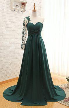 Forest Green Floor Length Chiffon Evening Dress