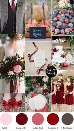 Autumn Wedding Palette, starting today with a Carmine, Deep red, Indian Red and Dark Taupe Autumn Wedding 2014 Red Wedding Colors, Dark Red Wedding, Red Wedding Shoes, Autumn Wedding, Wedding Color Schemes, Christmas Wedding, Wedding Flowers, Wedding Gold, April Wedding