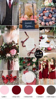Autumn Wedding Colors,carmine wedding color,autumn red color,red autumn wedding,fall wedding colors red,fall wedding colors schemes,deep red wedding colors