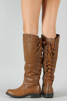 #Dollhouse Outlaw Lace Up Knee High Riding Boot $42.20