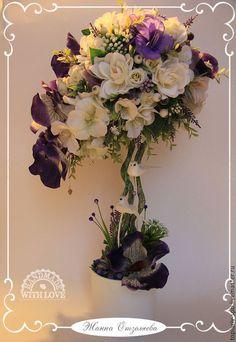 """Топиарии ручной работы. Топиарий """"Фиолетовые орхидеи"""". Жанна Отзеляева. Интернет-магазин Ярмарка Мастеров. Белый, топиарий дерево счастья"""
