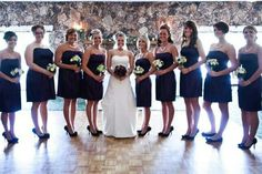 Dyana's Wedding.  The bouquets offset the color of the dresses.