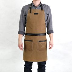 """Rugged Men's Apron by Hardmill - Army Duck waxed canvas.  """"The manliest apron."""" - Men's Journal"""