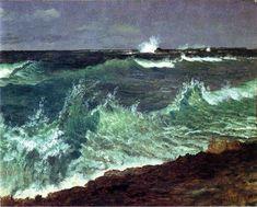 Seascape - Albert Bierstadt. Artist: Albert Bierstadt. Style: Luminism. Genre: marina. Technique: oil. Material: paper.