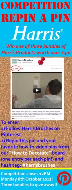 "Enter our competition for the chance to win one of three bundles of Harris products worth over £30 each! To enter follow Harris brushes on Pinterest, repin this pin and your favorite how to video pins from our ""How to Decorate"" board (one one entry per each pin!) and hash tag to your pin: #harrisbrushes. Competition closes 12PM Monday 8th October 2012 winners will be picked at random! Visit our Facebook page for more competitions www.facebook.com/... Entries limited to UK only"
