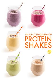 These fresh and vibrant homemade protein shakes (no protein powder necessary!) are just the thing to fill you up when you need a quick breakfast on the go, or a boost to get you through the afternoon
