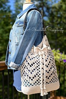 Chevron Chic Tote Bag Crochet Pattern by A Crocheted Simplicity. This purse would be great for the beach!