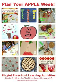 Plan your Preschool Apple Theme Week: Reading, Math, Science, Sensory Craft and MORE Preschool Activities for children ages 3-5. FREE Hands-on Lessons for parents, teachers and homeschooling families!