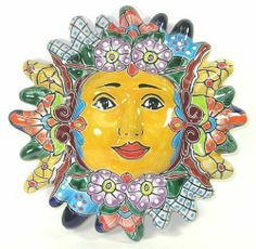 12 Inch Talavera Sun by Mexican Talavera. $34.95. Talavera pottery is a majolica earthenware is brightly painted and glazed. It was first introduced by the Spanish and quickly became one of the most popular styles of Mexican crafts. Each colorful piece is hand painted and glazed - and a one of a kind work of art. Handcrafted in Mexico.