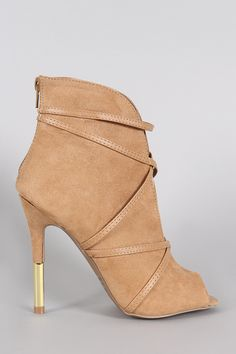 Qupid Low V Front Vegan Leather Wrapped Bootie