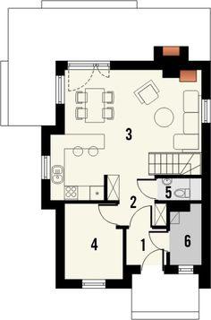 TAROT 2 - projekt małego domku z ciepłym wnętrzem z kominkiem. Studio Krajobrazy. Small House Design, Tarot, My House, Floor Plans, Exterior, How To Plan, Planes, Buildings, Townhouse