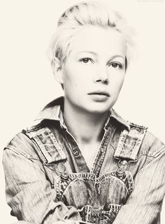 "Michelle Williams - ""I cut it for the one straight man who has ever liked short hair and I wear it in memorial of somebody who really loved it.""    - Michelle Williams, for Elle UK in November 2011, about her short hairdo in memory of the late Heath Ledger. ...- i love this portrait!"