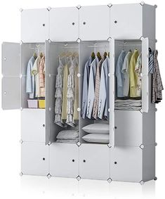 New YOZO Modular Wardrobe Portable Closet Plastic Organization Dresser DIY Cube Storage Organizer Bedroom Armoire Dresser, 20 Cubes, Depth 18 inches, White online shopping - Toplikestore
