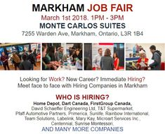 Register online today and prepare your resume to talk directly with hiring companies at the #Markham Job Fair - March 1st, 2018 #jobscanada #jobfairs #jobscanadafair #employment #Markhamjobfair #event #2018  Click the link to see more: http://myemail.constantcontact.com/Markham-Job-Fair---1-Mar--2018.html?soid=1128868941064&aid=wYssj5T-l2E