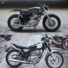 Cute #beforeandafter by @zifemoto #sr400 #yamaha #yamahasr400 #caferacersofinstagram #cafebrat #caferacer #bratcafe #bikelove #builtnotbought #bike #fromthistothis #follow #custom #motorbike #motorcycle #custombuilt #customize #custombuild #caferacergram #caferacerworld #garagelife #garage #