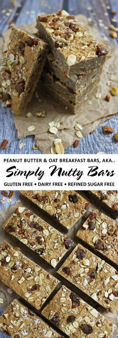 Peanut Butter Oat Breakfast Bars AKA Simply Nutty Bars - Gluten Free Dairy Free and Refined Sugar Free Peanut Butter Breakfast, Peanut Butter Snacks, Breakfast Bars, Breakfast Ideas, Paleo Dessert, Dessert Bars, Sugar Free Protein Bars, Nutty Bars, Oat Bars