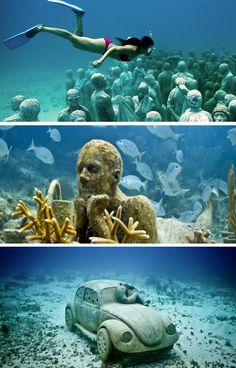 MUSA (Museo Subacuático de Arte) is an underwater museum in the waters surrounding Cancun and Isla Mujeres in Mexico. The project was created by artist Jason deCaires Taylor and consists of 400 permanent life-size sculptures on the ocean floor. A top travel destination on my list. #MustiXiGO http://www.tendencia.com/2012/musa-arte-submarino/
