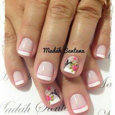 Daisy Nails, Flower Nails, Pink Nails, My Nails, Cute Nail Colors, Cute Nails, Pretty Nails, Short Nail Designs, Nail Art Designs