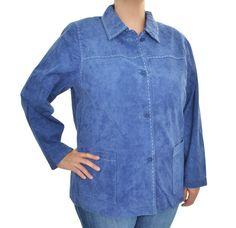 Denim & Co Womens Genuine Leather Jacket Washable Suede Stitched Blue 1X/2X NEW #DenimCo #BasicCoat