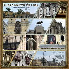 page - Plaza Mayor de Lima - --might make a great layout for high adventures & campouts where lots of pics were taken. Travel Scrapbook Pages, Vacation Scrapbook, Papel Scrapbook, Scrapbook Cards, Scrapbook Sketches, Scrapbook Page Layouts, Digital Scrapbooking Layouts, Scrapbook Designs, Album Photo Voyage