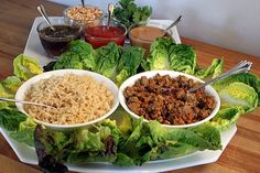 Asian Turkey Lettuce Wraps - A healthy meal, appetizer, or party buffet