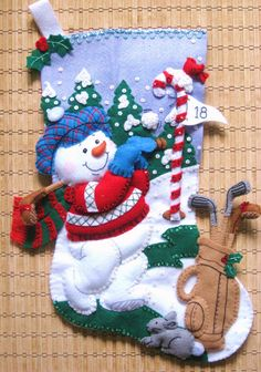 Completed Bucilla Christmas Stocking Golf by HollyCreations Christmas Sewing, Felt Christmas, Christmas Balls, Handmade Christmas, Christmas Holidays, Christmas Crafts, Christmas Decorations, Xmas, Christmas Ornaments