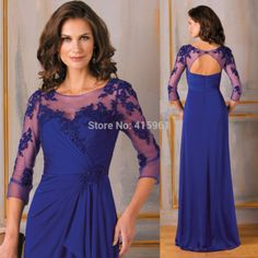 2015 Modest Royal Blue Plus Size Mother of the Bride Dresses With Long  Sleeves Lace Vestido de madrinha Chiffon 93ea3d1d15b7