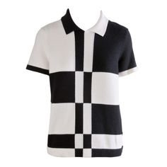 New Chanel Black & White Color Block Cashmere Short Sleeve Sweater Size 40 | From a collection of rare vintage sweaters at http://www.1stdibs.com/fashion/clothing/sweaters/