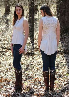 Ivory Sleeveless Embroidered Hi-Lo Tunic Top Bella Women's