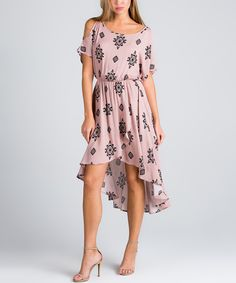 Another great find on #zulily! Mauve Geometric Shoulder Cutout Hi-Low Midi Dress by Avenue Hill #zulilyfinds