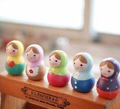 shabby chic kawaii RUSSIAN DOLL matryoshka resin figurine ornament desk decor