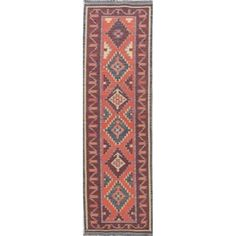 One-Of-A-Kind Flatweave Kilim Hand-Woven Turkish Runner Rug Wool - x Runner x Runner - Red) (Tribal) Hand Knotted Rugs, Woven Rug, Hand Weaving, Navy Blue Area Rug, Beige Area Rugs, Stair Rugs, Natural Area Rugs, Handmade Rugs, Rug Runner
