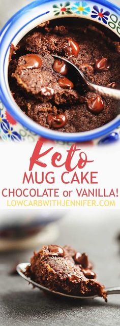 Keto Mug Cake Chocolate or Vanilla - Low Carb Keto - Ideas of Low Carb Keto - This chocolate keto mug cake is another one of my favorite quick treats! I give instructions for vanilla and chocolate keto mug cakesusing coconut flour or almond flour! Low Carb Deserts, Low Carb Sweets, Low Carb Treat, Keto Chocolate Mug Cake, Chocolate Chip Cookies, Chocolate Chips, Vanilla Keto Mug Cake, Keto Desserts, Quick Keto Dessert