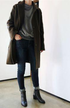 olive, gray, dark denim, boots.