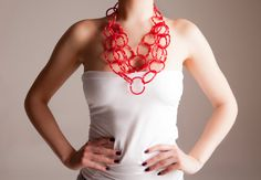 Multi strand Rubber Necklace lightweight chain loop statement necklace  Boho style Graded Bib hippie Style bold Necklace