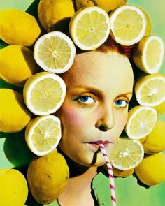 Spanish photographer Ouka Leele (@oukaleele) came to prominence after Francos fascist regime and her colorful playful images reflect this new period of freedom and exuberance with its greater artistic possibilitiesHere the lemon headdress is reminiscent of the movie star Carmen Mirandas enormous fruit-laden hats of the 1930s and 1940s. This was taken before the age of Photoshop and the lemons were not placed on the model digitally she is poking her head through a set made with real open…