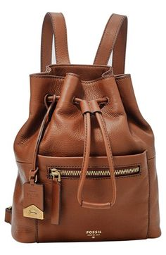 3c1f4ffc8 Fossil Fossil 'Vickery' Drawstring Leather Backpack available at #Nordstrom  Bolsos Fossil, Hacer