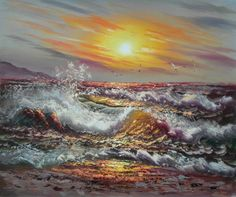 Hand Finished Oil Paintings - Wall Art finished in USA History: Spoon Drift is a hand finished canvas oil painting. This brilliantly hued canvas art is truly a show piece. This oil painting Oil Painting On Canvas, Canvas Art, Oil Paintings, Painting Gallery, Canvas Size, Beach Sunset Painting, Ocean Pictures, Ocean Pics, Wave Illustration
