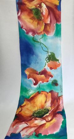 Material:HABOTAI-100%NATURAL SILK Dimensions: 157CM x 45CM = 61.81 x 17.72 inches Motif: Light red Poppies with Green Leaves on multicolored background. Technique:Impressionistic watercolor. I paint directly on silk an original motif,with French dye (H-Dupont). This gives my works a unique
