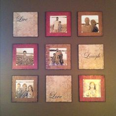 """I just bought a sheet of 1/2"""" thick plywood and had them cut into 9 12x12 squares. I painted the edges a glossy espresso. Then I picked out 9 scrapbook paper patterns (12x12) size. Used mod podge to glue them onto the wood. Then used a distressed ink pad and rubbed the edges to get the aged look. Found the letters for live, laugh, love and stuck it one there. Put a thin layer of mod podge over the front to seal them. Finally, used photo corners to hold 8x8 pictures:). That way I can change…"""
